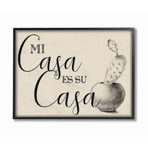 16 in. x 20 in. ''Mi Casa es Su Casa Tan Spanish Cactus Drawing'' by Artist Daphne Polselli Framed Wall Art