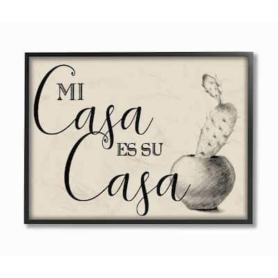 "16 in. x 20 in. ""Mi Casa es Su Casa Tan Spanish Cactus Drawing"" by Artist Daphne Polselli Framed Wall Art"