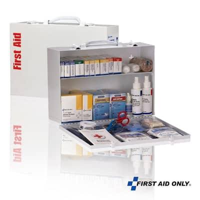 2 Shelf 75-Person Metal Cabinet, OSHA, First Aid Kit (516-piece)