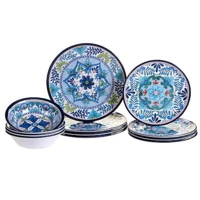 Talavera 12-Piece Country/Cottage Blue Melamine Dinnerware Set