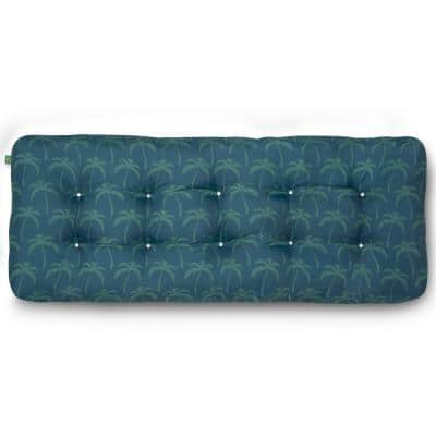 Rectangular Indoor/Outdoor Bench Cushion 42 in. W x 18 in. D x 5 in. Thick in Blue Oasis Palm