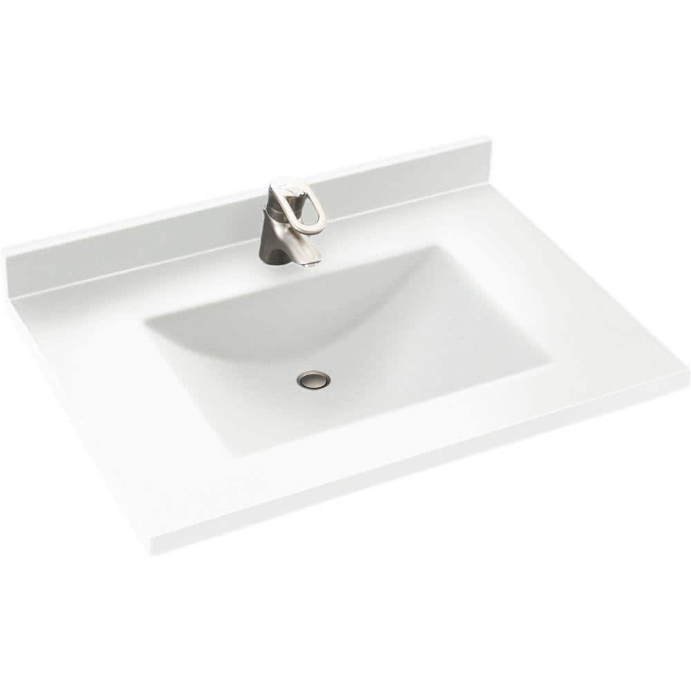 Swan Contour 31 In W X 22 In D Solid Surface Vanity Top With Sink In White Cv2231 010 The Home Depot