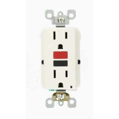 15 Amp Self-Test SmartlockPro Slim Duplex GFCI Outlet, White