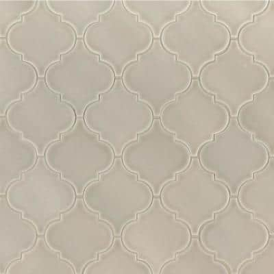 Portico Pearl Arabesque 10.83 in. x 15.5 in. x 8 mm Glossy Ceramic Mosaic Tile (11.7 sq. ft. / case)