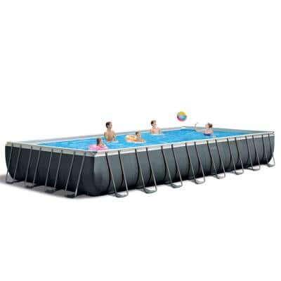 32 ft. x 16 ft. x 52 in. Ultra XTR Rectangular Above Ground Swimming Pool Set, Gray