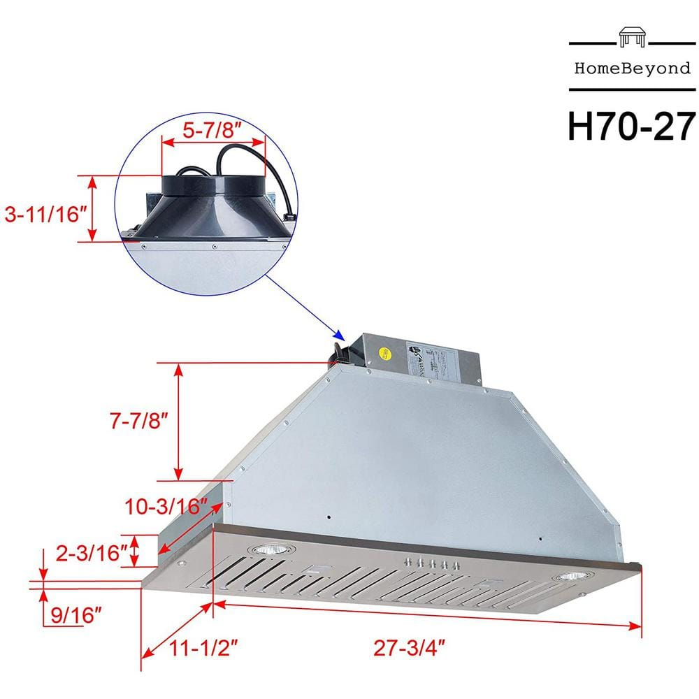 70cm Cooker Hood Curved Glass Hood Stainless Steel with LED Lighting UBLED70