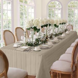 60 in. W x 84 in. L Oblong Gray Denley Stripe Damask Fabric Tablecloth