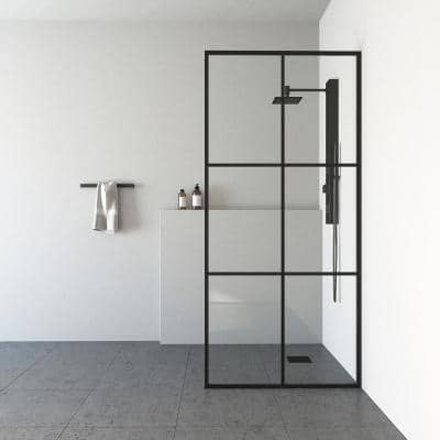 Ventana 34 in. W x 74 in. H Fixed Framed Shower Door in Matte Black with Clear Glass