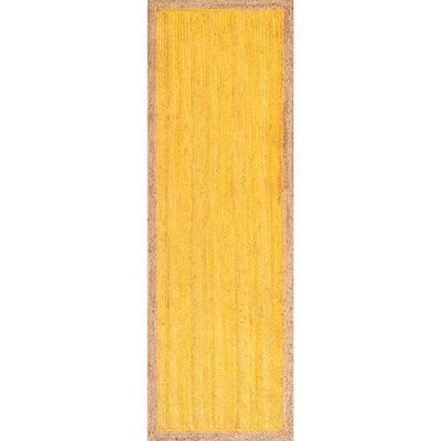Elanora Farmhouse Bordered Jute Yellow 3 ft. x 8 ft. Runner