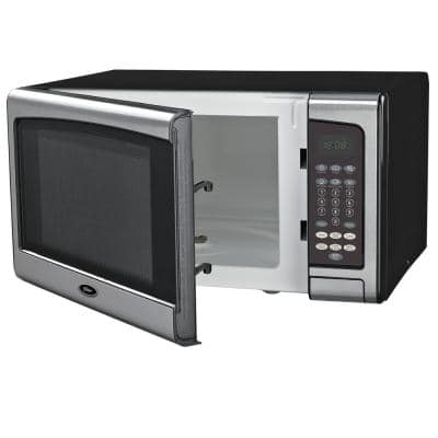 Countertop Microwave Stainless Steel Black 1.1 cu. Ft. 1000-Watt with Push Button