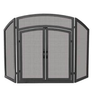 Black Wrought Iron 52 in. W 3-Panel Fireplace Screen with Doors and Arch Top Design