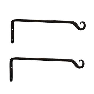4 in. H Black Powder Coat Metal Straight Up Curled Wall Bracket Hooks (Set of 2)