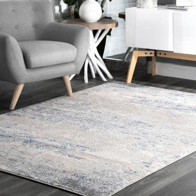 Twilight Tribal Distressed Silver 9 ft. x 12 ft. Indoor Area Rug
