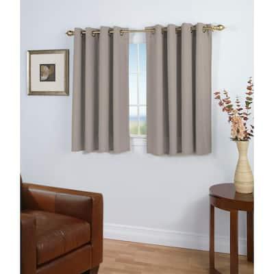 Grey Woven Grommet Room Darkening Curtain - 56 in. W x 45 in. L