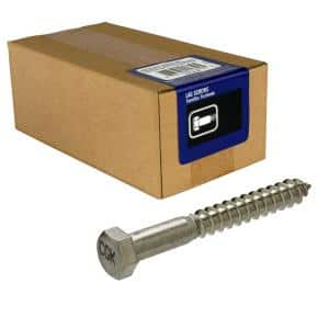 3/8 in. x 4 in. Hex Stainless Steel Lag Screw (5-Pack)