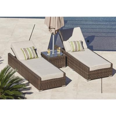 Vida Brown 3-Piece Wicker Outdoor Chaise Lounge Set with Beige Cushions