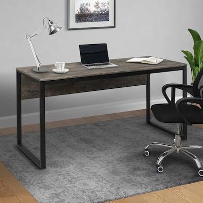 60 in. Rectangular Walunt Computer Desk with Metal Frame