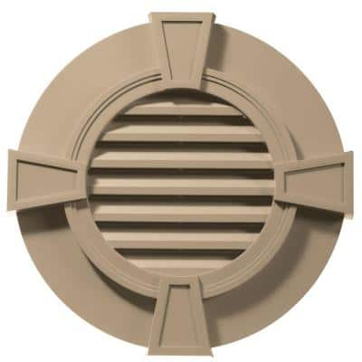 30 in. x 30 in. Round Brown/Tan Plastic Built-in Screen Gable Louver Vent