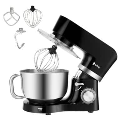 5.8 qt. 6-Speed Black Stainless Steel Stand Mixer with Dough Hook and Whisk