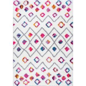 Bohemian Shag Tatyana Pink Multi 5' Square Rug