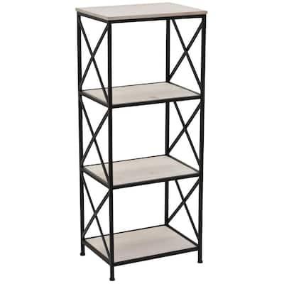 39 in. Metal/Wood Book Shelf in White