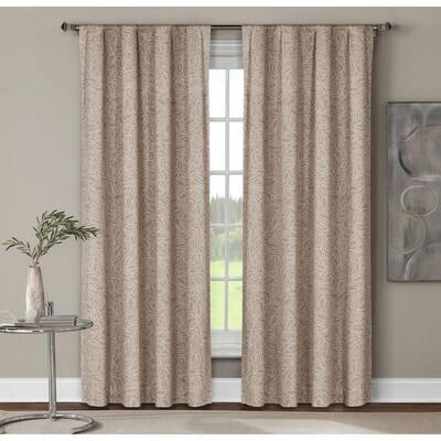 Linen Geometric Rod Pocket Room Darkening Curtain - 52 in. W x 96 in. L  (Set of 2)