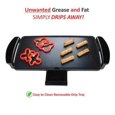 27 sq. in. Black Nonstick Electric Griddle with Drip Pan