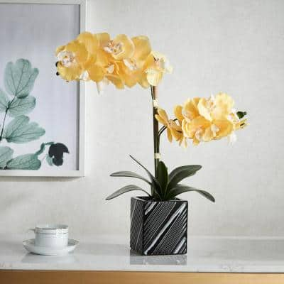 Artificial 21 in. 2-Stem Yellow Orchid Plant