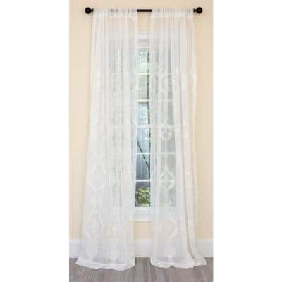 White Jacquard Embroidered Rod Pocket Sheer Curtain - 52 in. W x 96 in. L (1-Piece)