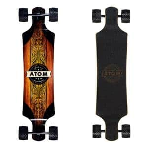 40026 Atom Drop Through 39 in. Longboard Skateboard Cruiser, Black and Wood