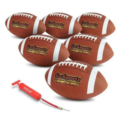 Combine Pro Football with Ball Pump and Bag, Regulation Size (6-Pack)
