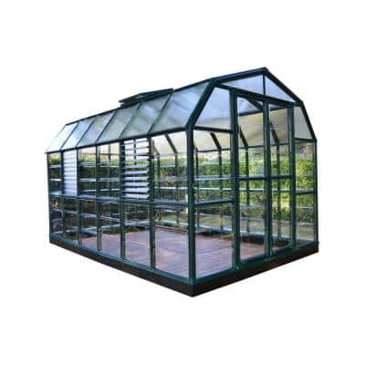 Prestige 8 ft. 8 in. x 12 ft. 9 in. Green/Clear Barn Style DIY Greenhouse Kit including Professional Accessory Package