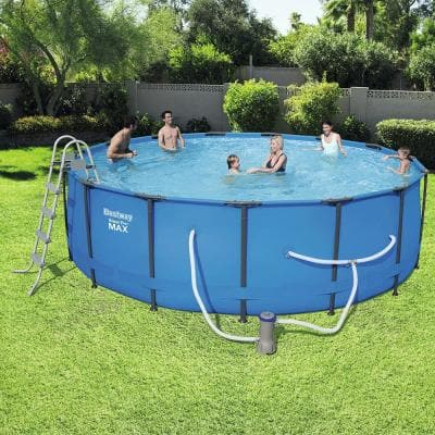 Steel Pro 15 ft. Round x 48 in. D Above Ground Pool Package