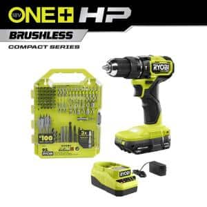 ONE+ HP 18V Brushless Cordless Compact 1/2 in. Hammer Drill Kit with (1) 1.5 Ah Battery, Charger, & 95PC Bit Set