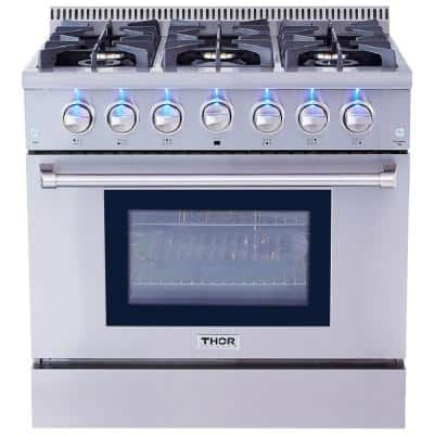 Pre-Converted Propane 36 in. 5.2 cu. ft. Gas Range in Stainless Steel Single Oven