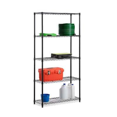 Black 5-Tier Metal Wire Garage Storage Shelving Unit (18 in. W x 72 in. H x 36 in. D)