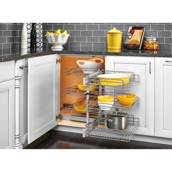Rev A Shelf 15 In Corner Cabinet Pull Out Chrome 3 Tier Wire Basket Organizer With Soft Close Slides 5psp3 15sc Cr The Home Depot