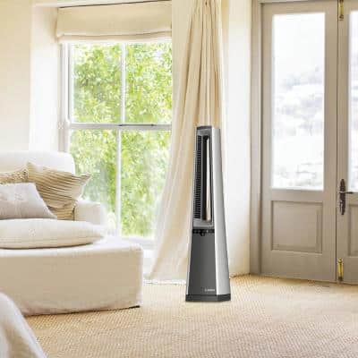 Bladeless 37 in. Oscillating Tower Fan with Nighttime Setting, Timer and Remote Control
