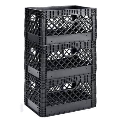 19 in. W x 11 in. H Stackable Plastic Milk Crate Bin in Black (3-Pack)