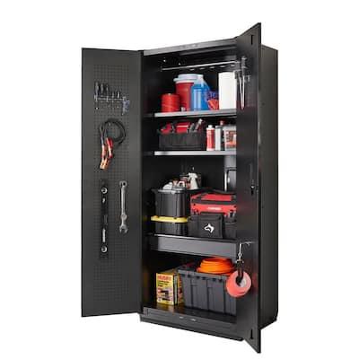 Heavy Duty Welded 20-Gauge Steel Freestanding Garage Cabinet in Black (36 in. W x 81 in. H x 24 in. D)