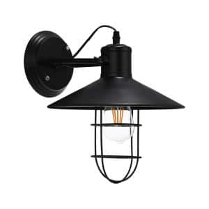 10.63 in. 1-Light Black Metal Cage Wall Sconce
