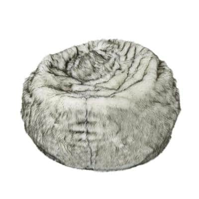 3 ft. White Faux Fur Bean Bag with Gray Streaks