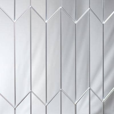 Reflections Silver Straight Edge Chevron 4 in. x 12 in. Glass Mirror Wall Tile (16.2 Sq.Ft./Case)
