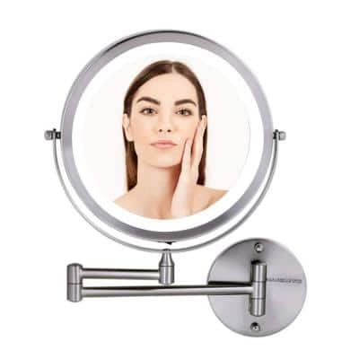 13.2 in. H x 1.6 in. W, Small Round Nickel Brushed Lighted Framed Modern Vanity Mirror, 1x 7x Magnification