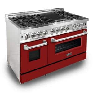 ZLINE 48'' 6.0 cu. ft. Dual Fuel Range with Gas Stove and Electric Oven in Stainless Steel and Red Matte Door (RA-RM-48)