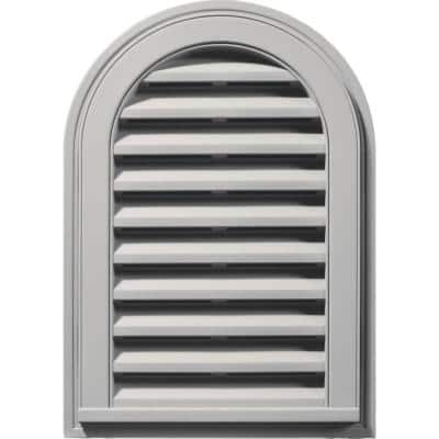 14 in. x 22 in. Round Top Gray Plastic Built-in Screen Gable Louver Vent