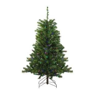 4 ft. Pre-Lit LED Canadian Pine Artificial Christmas Tree with Multi Lights