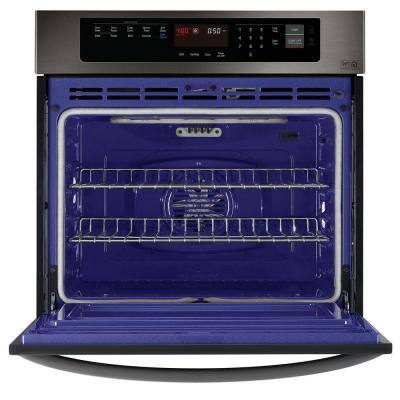 30 in. Single Electric Wall Oven with Convection in Black Stainless Steel