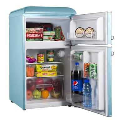3.1 cu. ft. Retro Mini Fridge with Dual Door True Freezer in Blue