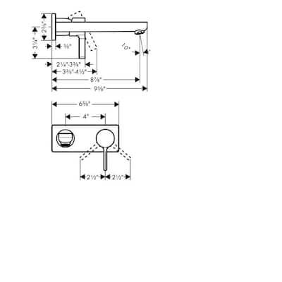 Metris S Single-Handle Wall Mount Bathroom Faucet in Brushed Nickel